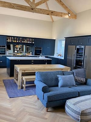 a lounge and kitchen