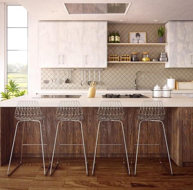 open plan storage in kitchen