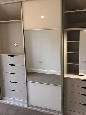 Storage inside sliding wardrobe