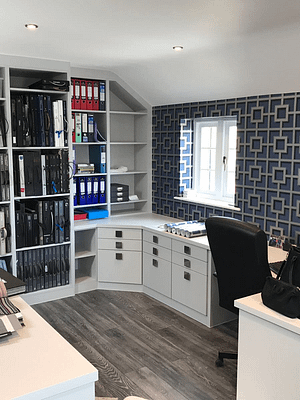 light grey fitted home office