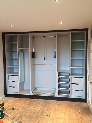 Wardrobe interior, light grey
